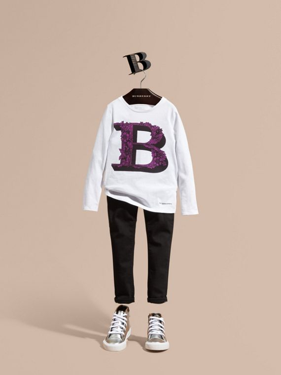 Decorative Letter Motif Long-sleeved Cotton T-Shirt