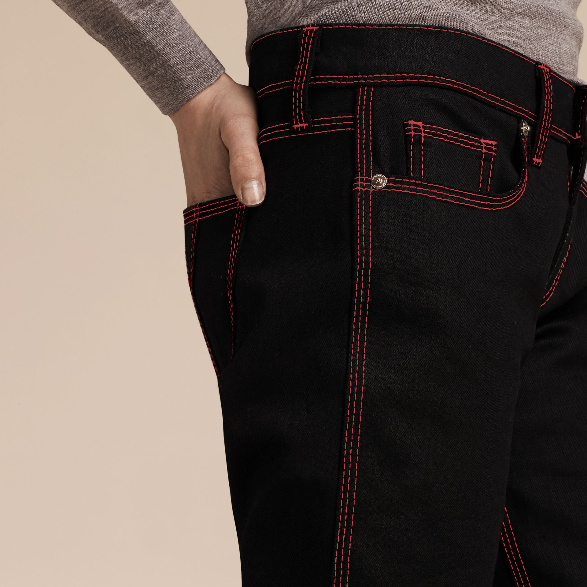 Black Skinny Fit Cropped Jeans with Topstitch Detail - gallery image 5