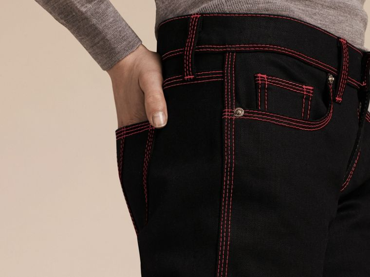 Black Skinny Fit Cropped Jeans with Topstitch Detail - cell image 4