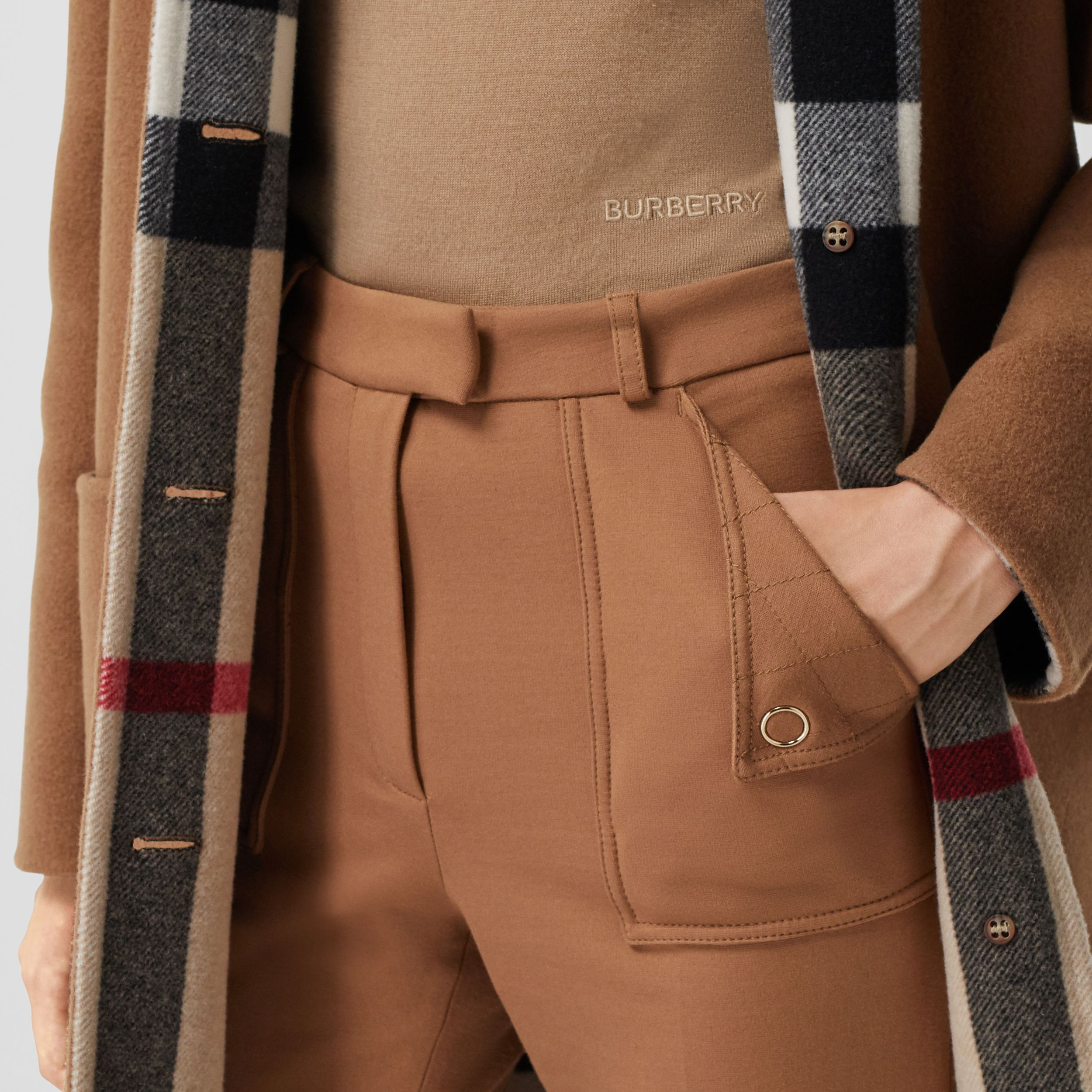 Reversible Check Technical Wool Coat in Mid Camel - Women | Burberry - 4