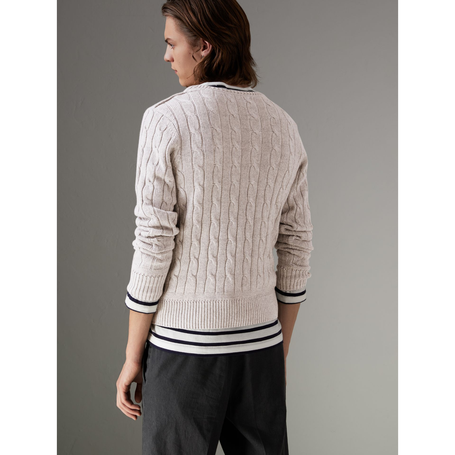 Cable Knit Cotton Cashmere Sweater in Light Grey Melange - Men | Burberry - gallery image 2