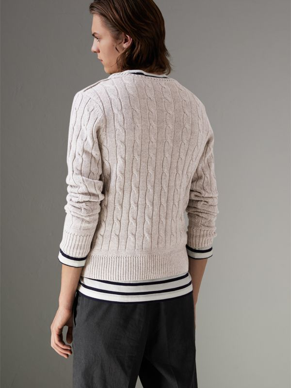 Cable Knit Cotton Cashmere Sweater in Light Grey Melange - Men | Burberry - cell image 2