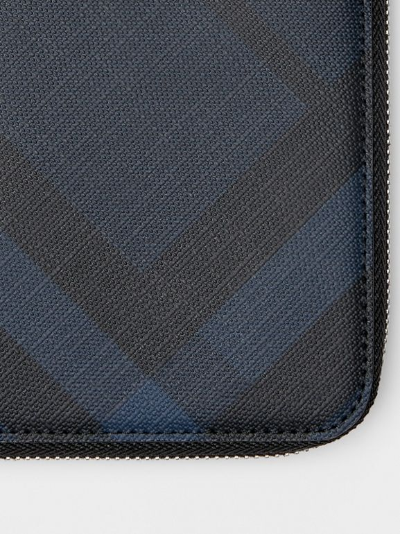 London Check and Leather Ziparound Wallet in Navy/black - Men | Burberry - cell image 1