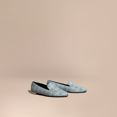 Mormont Pyjama-Print Fabric Loafer, Pale Stone Blue