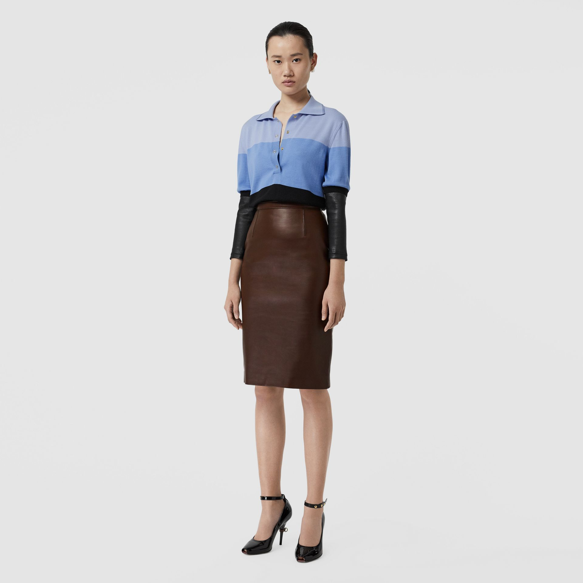 Lambskin Pencil Skirt in Mahogany - Women | Burberry - gallery image 0