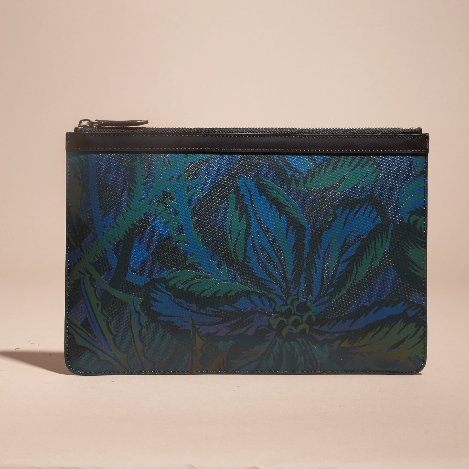Floral Print London Check Pouch Navy - gallery image 6