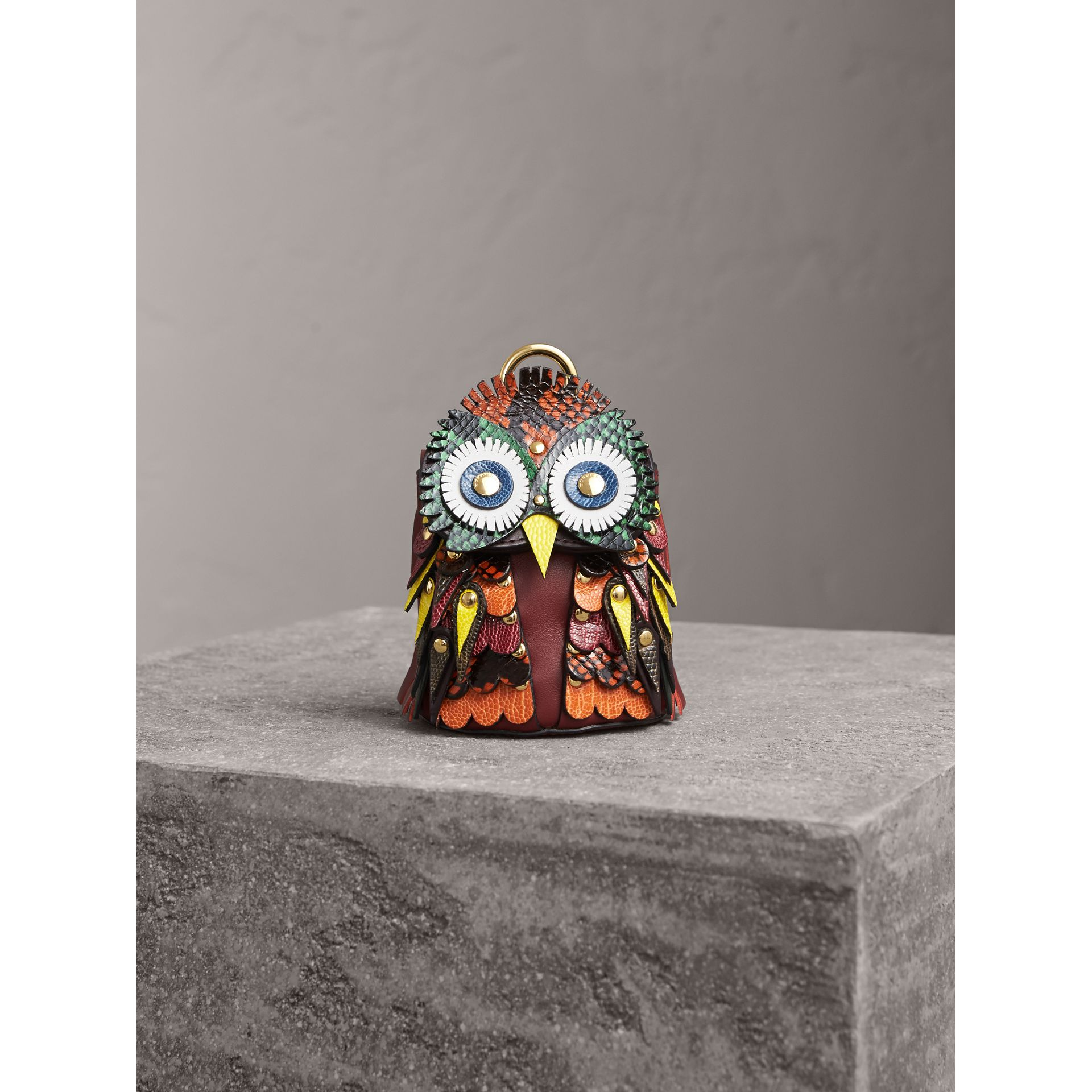 The Owl – Leather and Snakeskin Coin Case in Wine - Women | Burberry - gallery image 4