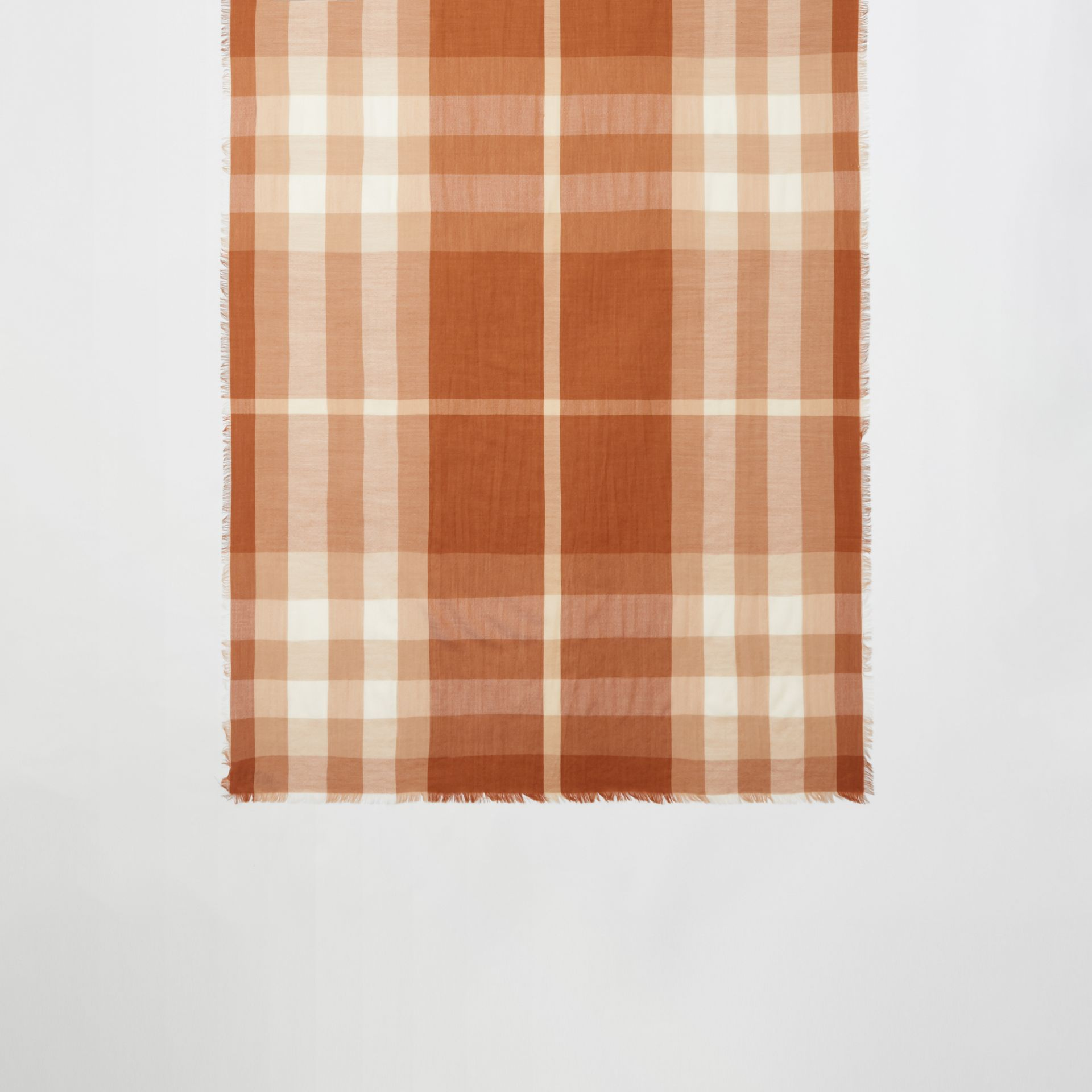 Lightweight Check Cashmere Scarf in Dark Camel | Burberry United Kingdom - gallery image 3