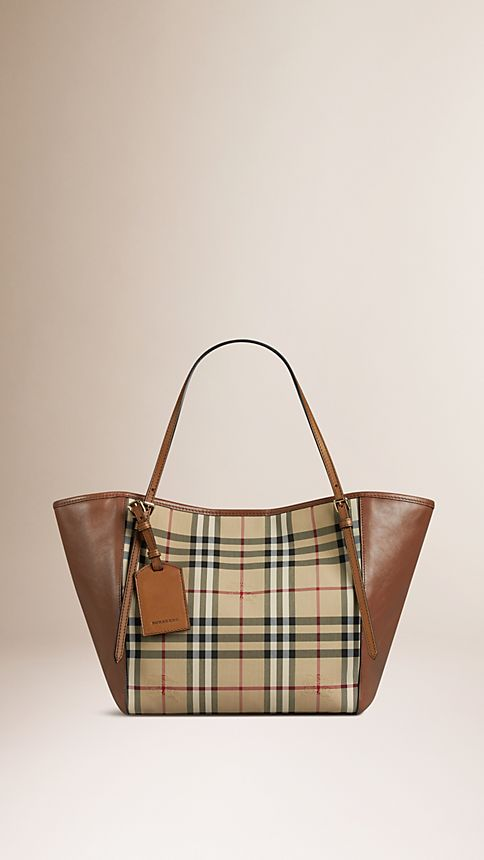 Honey/tan The Small Canter in Horseferry Check and Leather - Image 1