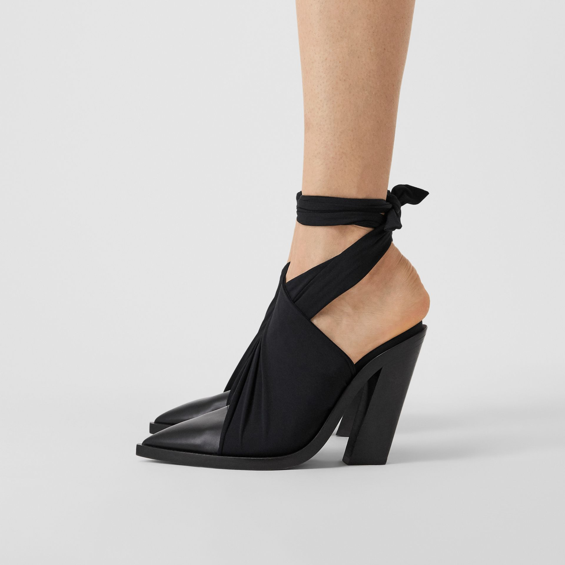 Scarf Tie Detail Leather Point-toe Mules in Black | Burberry - gallery image 2