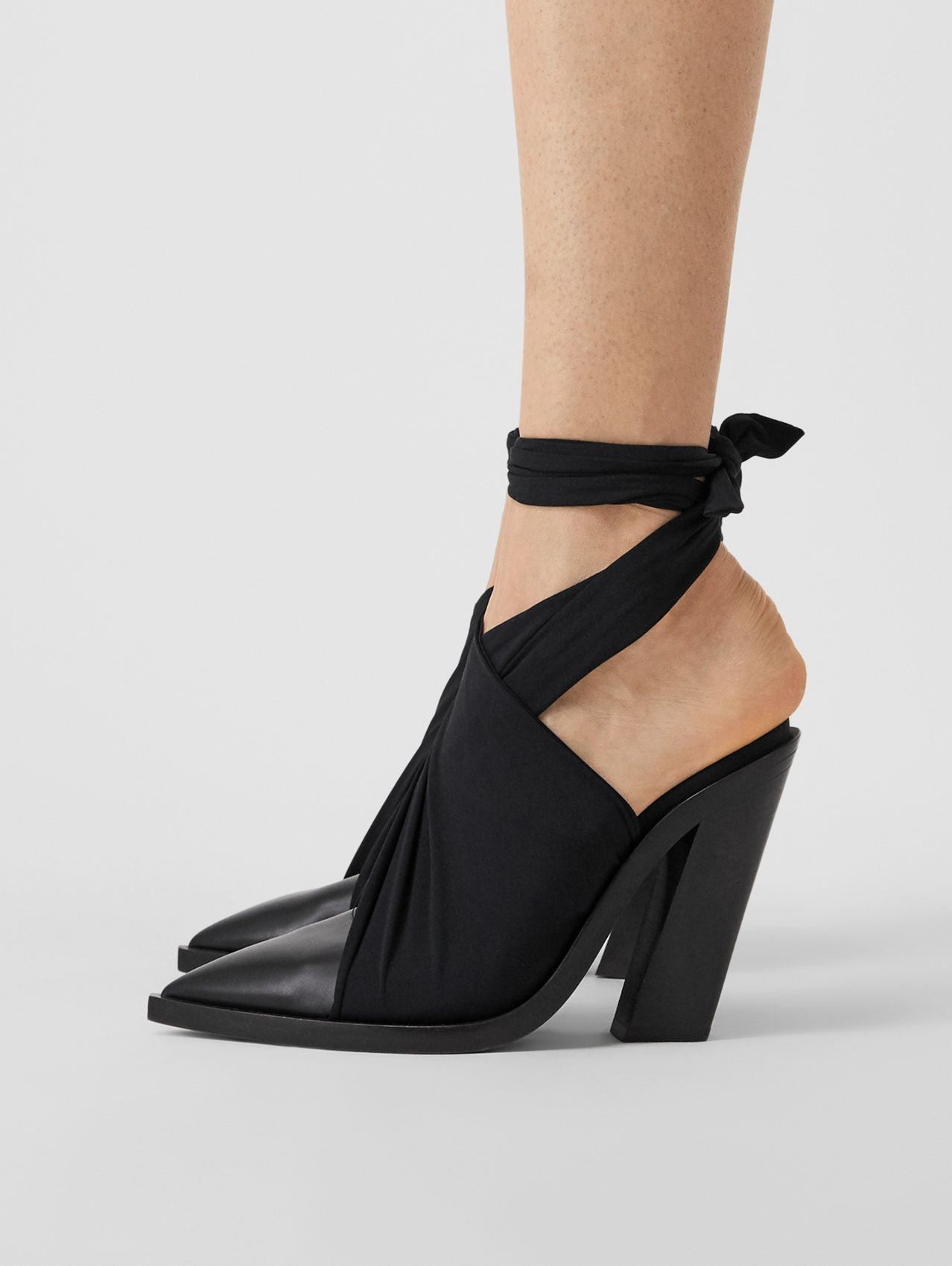 Scarf Tie Detail Leather Point-toe Mules (Black)