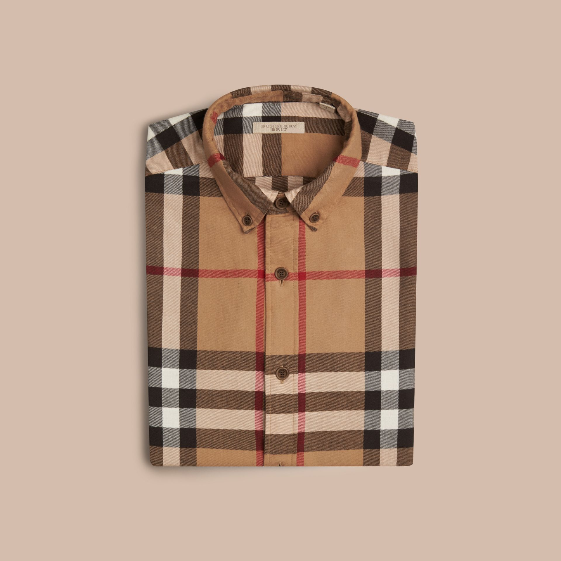 Camel Check Cotton Flannel Shirt Camel - gallery image 4