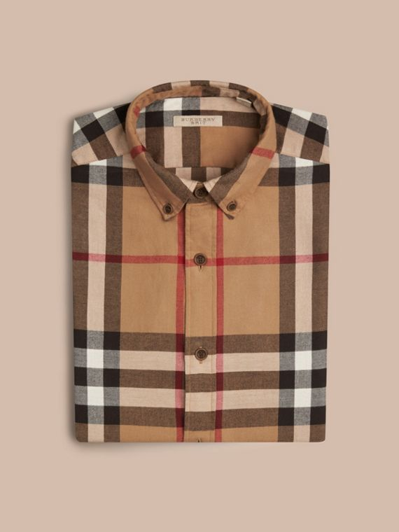 Camel Check Cotton Flannel Shirt Camel - cell image 3