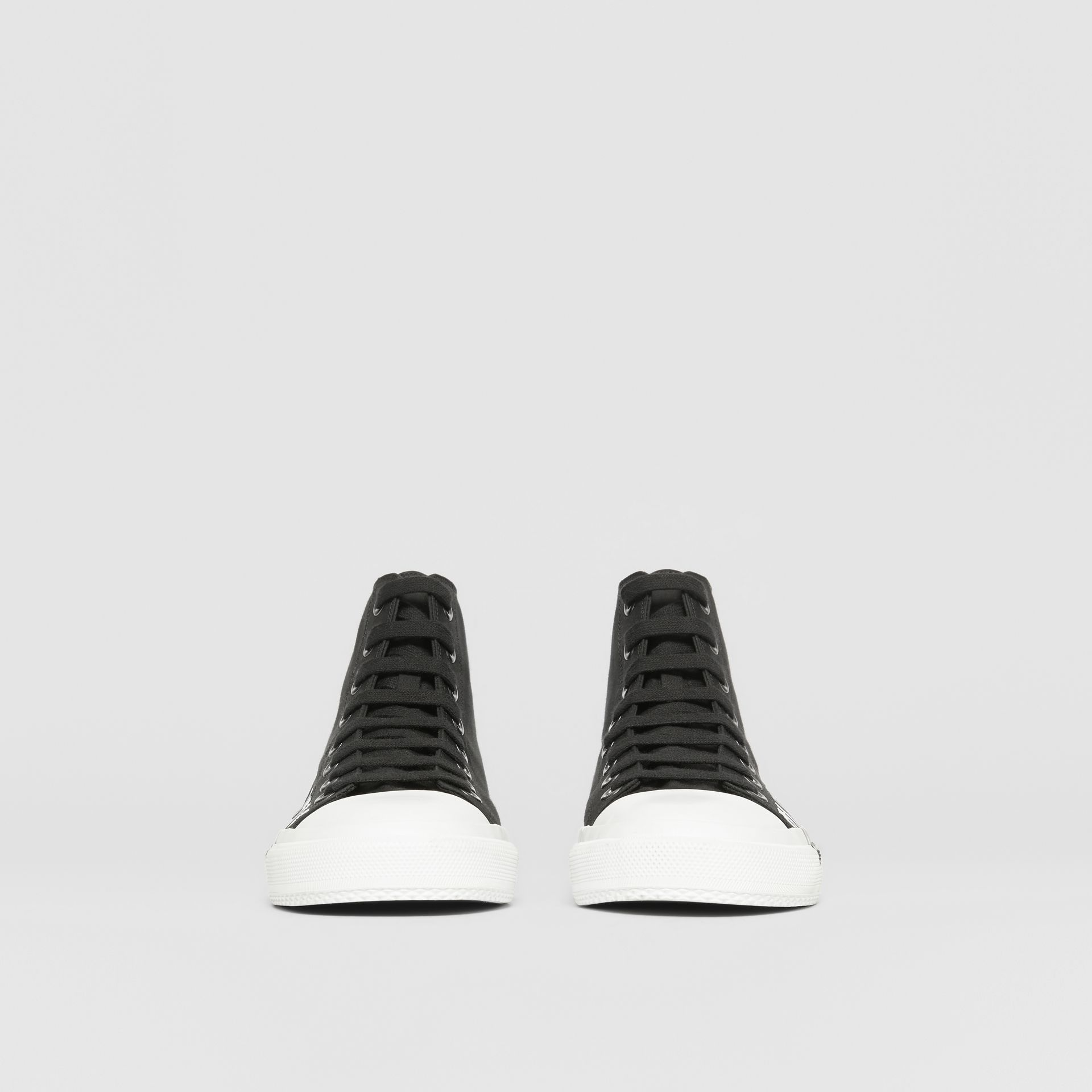 Logo Print Cotton Gabardine High-top Sneakers in Black/white - Men | Burberry - gallery image 3