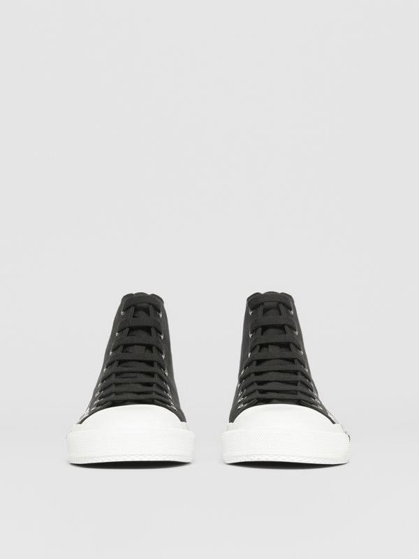 Logo Print Cotton Gabardine High-top Sneakers in Black/white - Men | Burberry - cell image 3