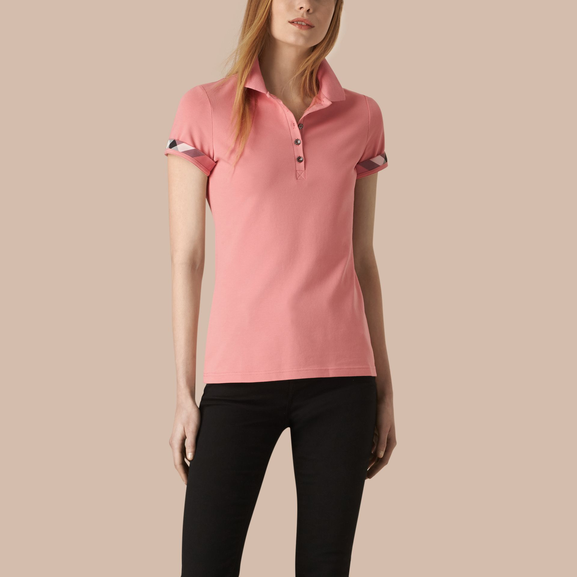 Check Trim Stretch Cotton Piqué Polo Shirt in Carnation Pink - Women | Burberry - gallery image 1