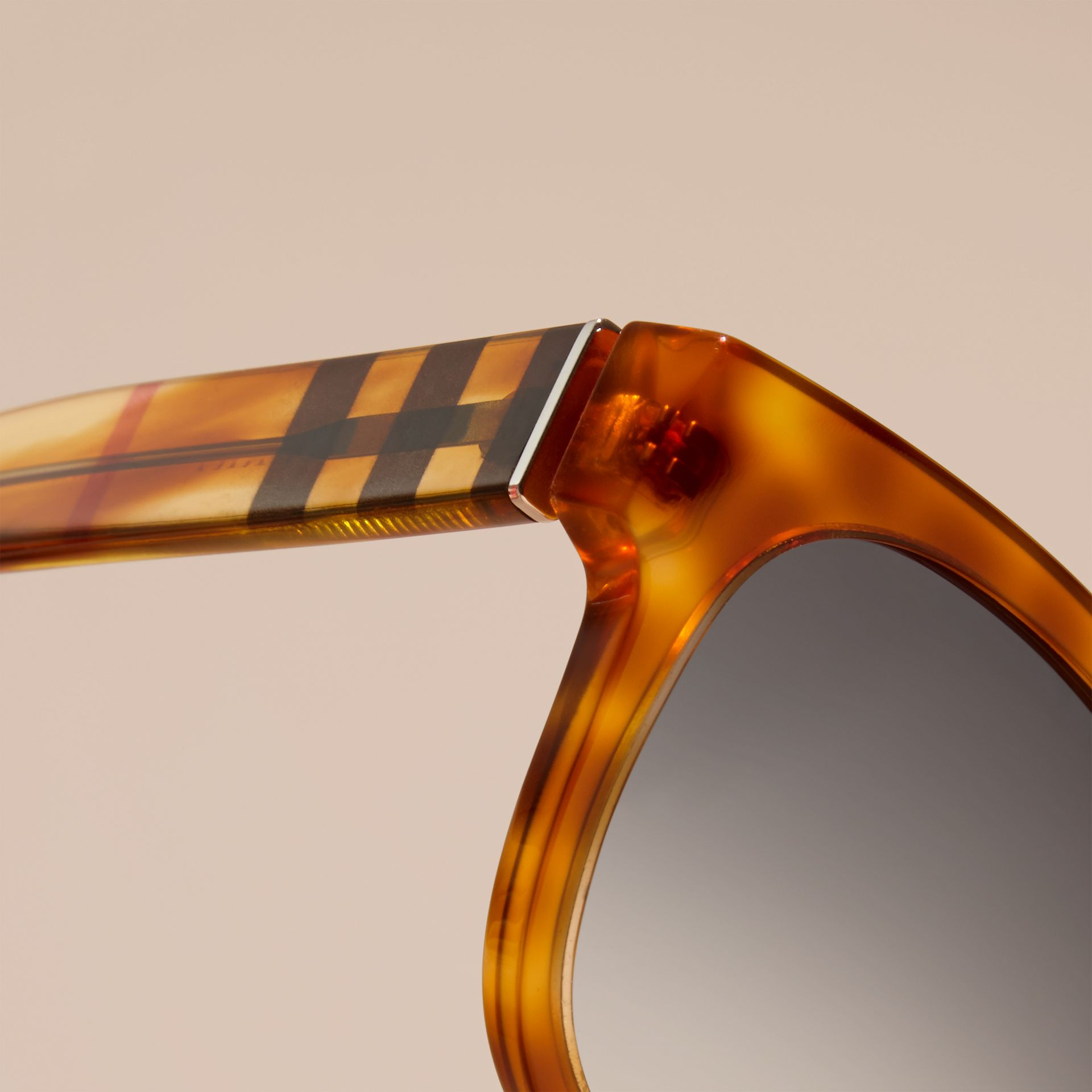 Light russet brown Check Detail Square Frame Sunglasses - gallery image 2
