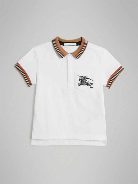 Heritage Stripe Detail Cotton Polo Shirt in White