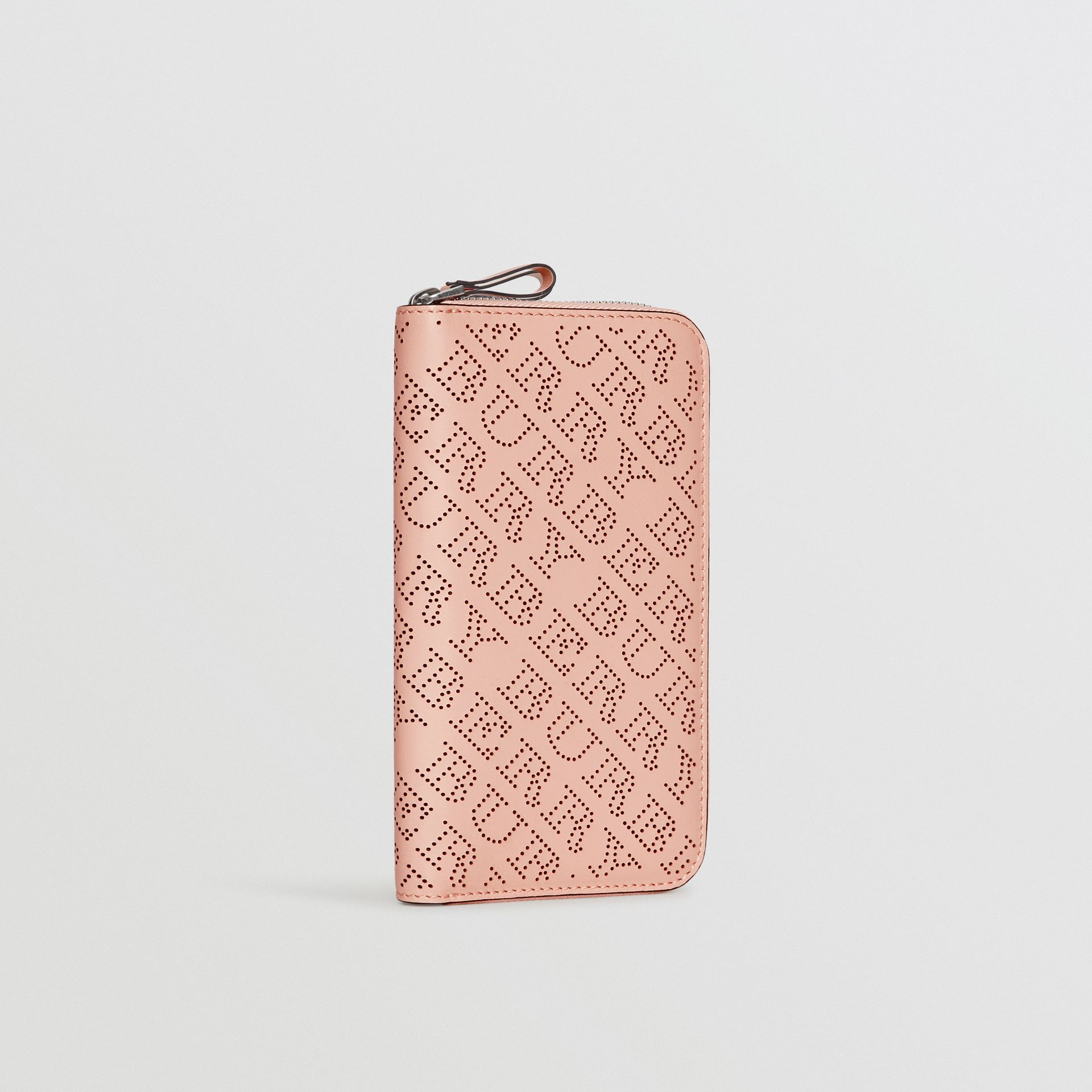 Perforated Leather Ziparound Wallet in Pale Fawn Pink - Women | Burberry - gallery image 4