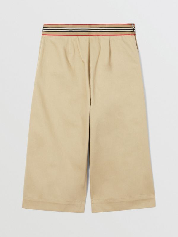 Icon Stripe Trim Cotton Sailor Trousers in Honey | Burberry United States - cell image 2