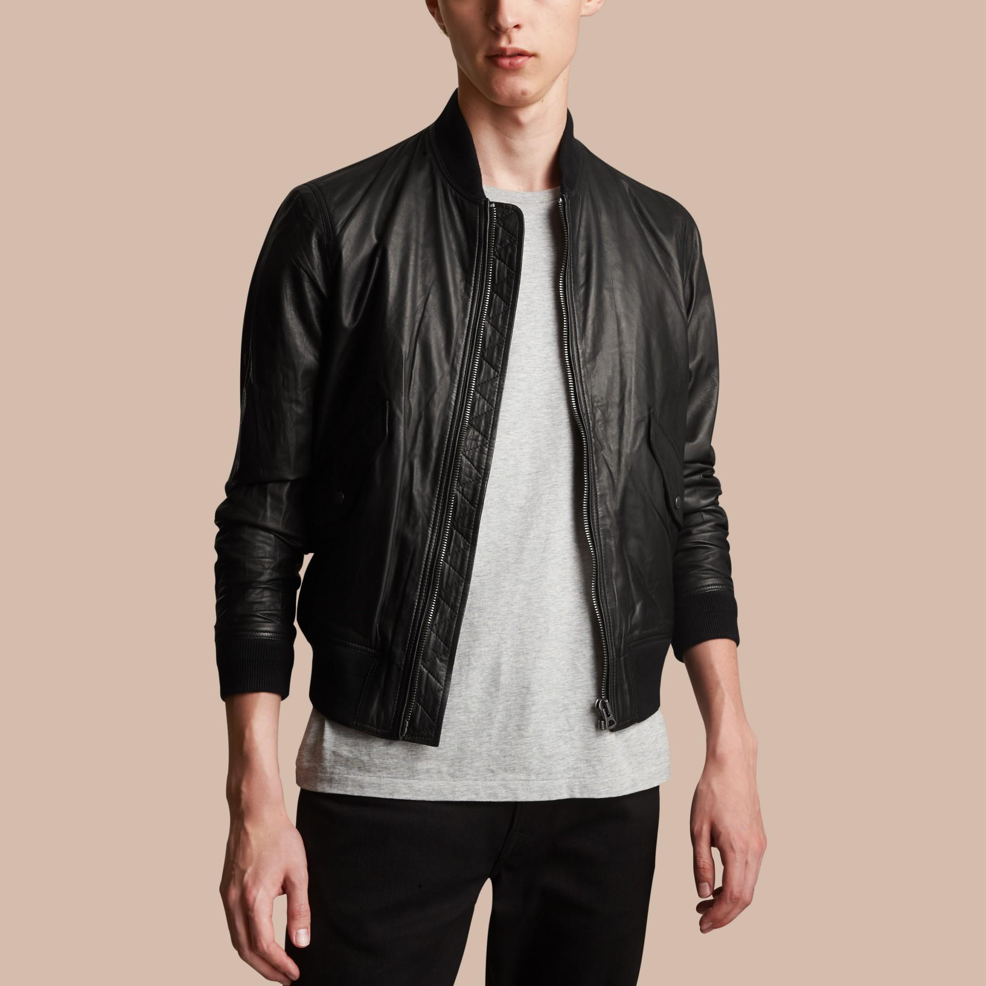Nappa Leather Bomber Jacket - gallery image 1