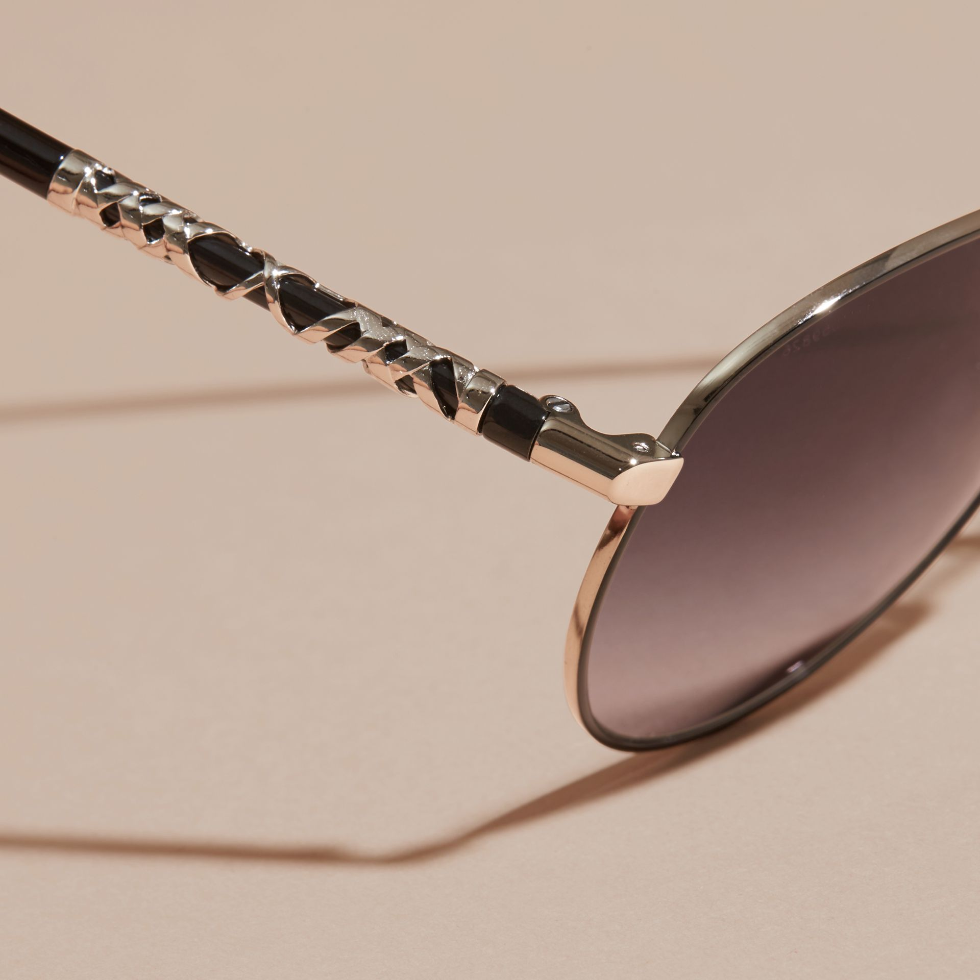 Check Detail Pilot Sunglasses in Grey Lilac - Women | Burberry Canada - gallery image 2