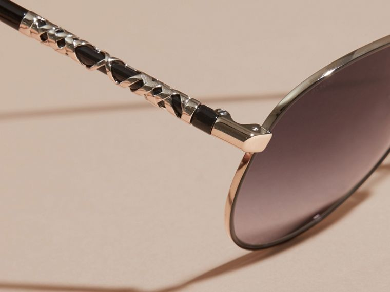Check Detail Pilot Sunglasses in Grey Lilac - Women | Burberry Canada - cell image 1