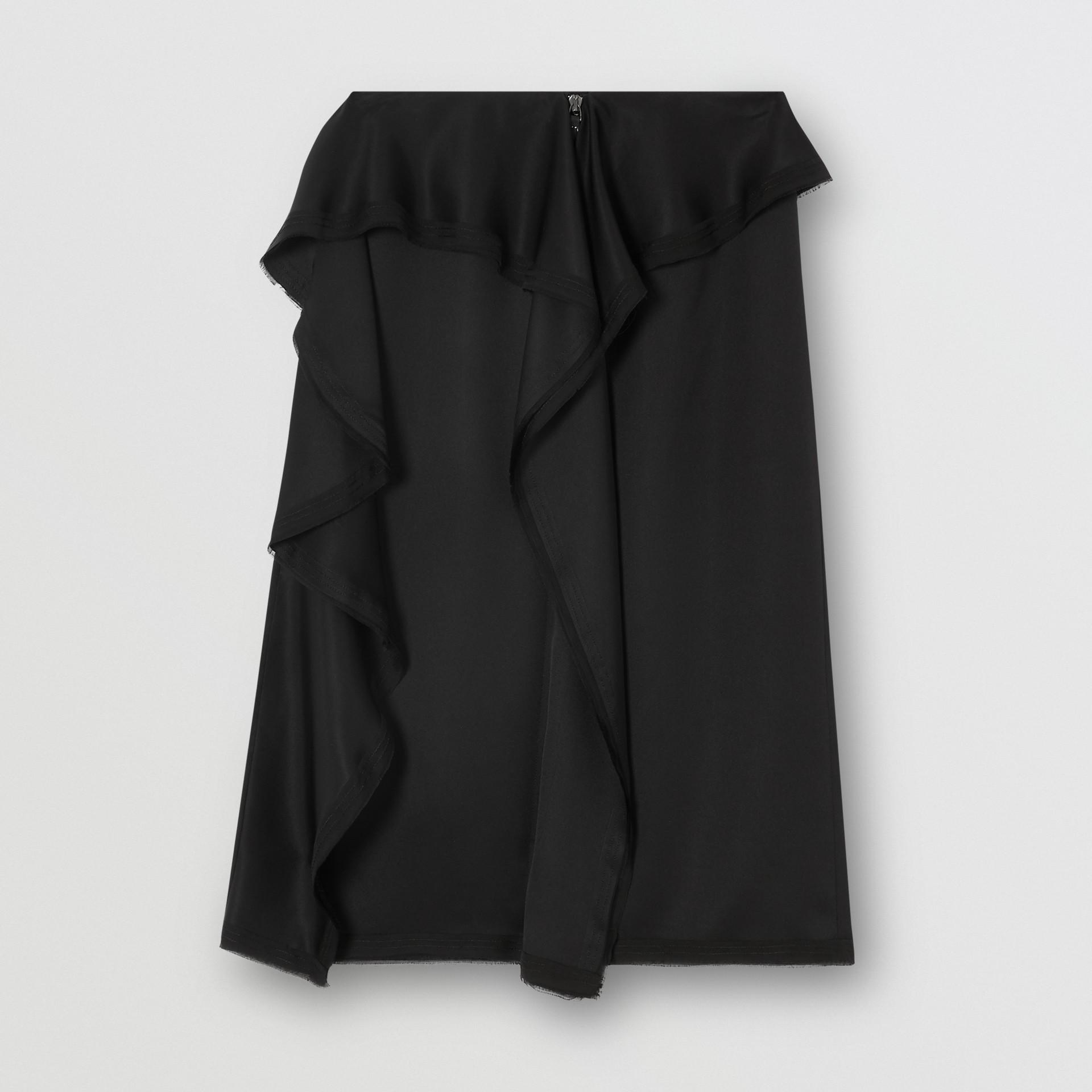 Ruffle Detail Silk Satin Pencil Skirt in Black - Women | Burberry United Kingdom - gallery image 3