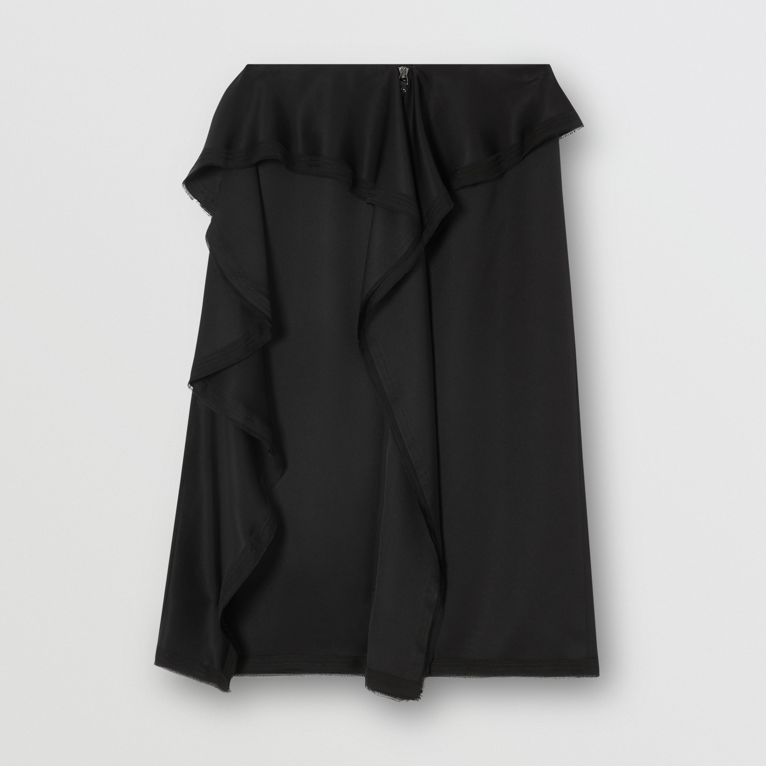 Ruffle Detail Silk Satin Pencil Skirt in Black - Women | Burberry - 4