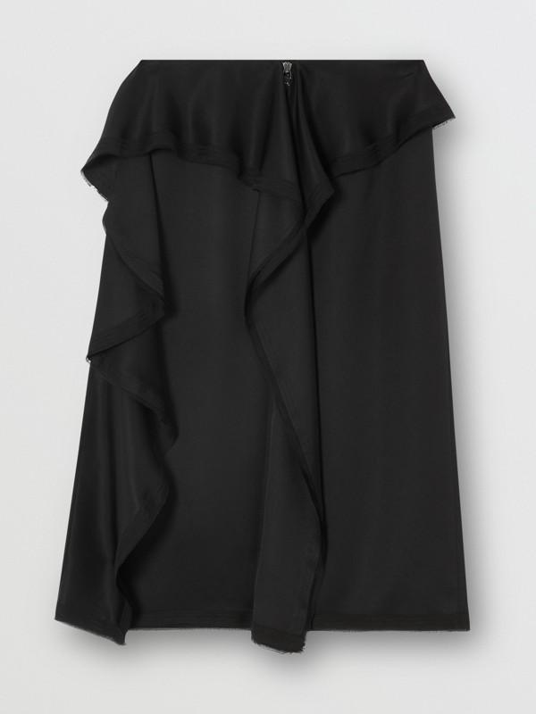 Ruffle Detail Silk Satin Pencil Skirt in Black - Women | Burberry United Kingdom - cell image 3