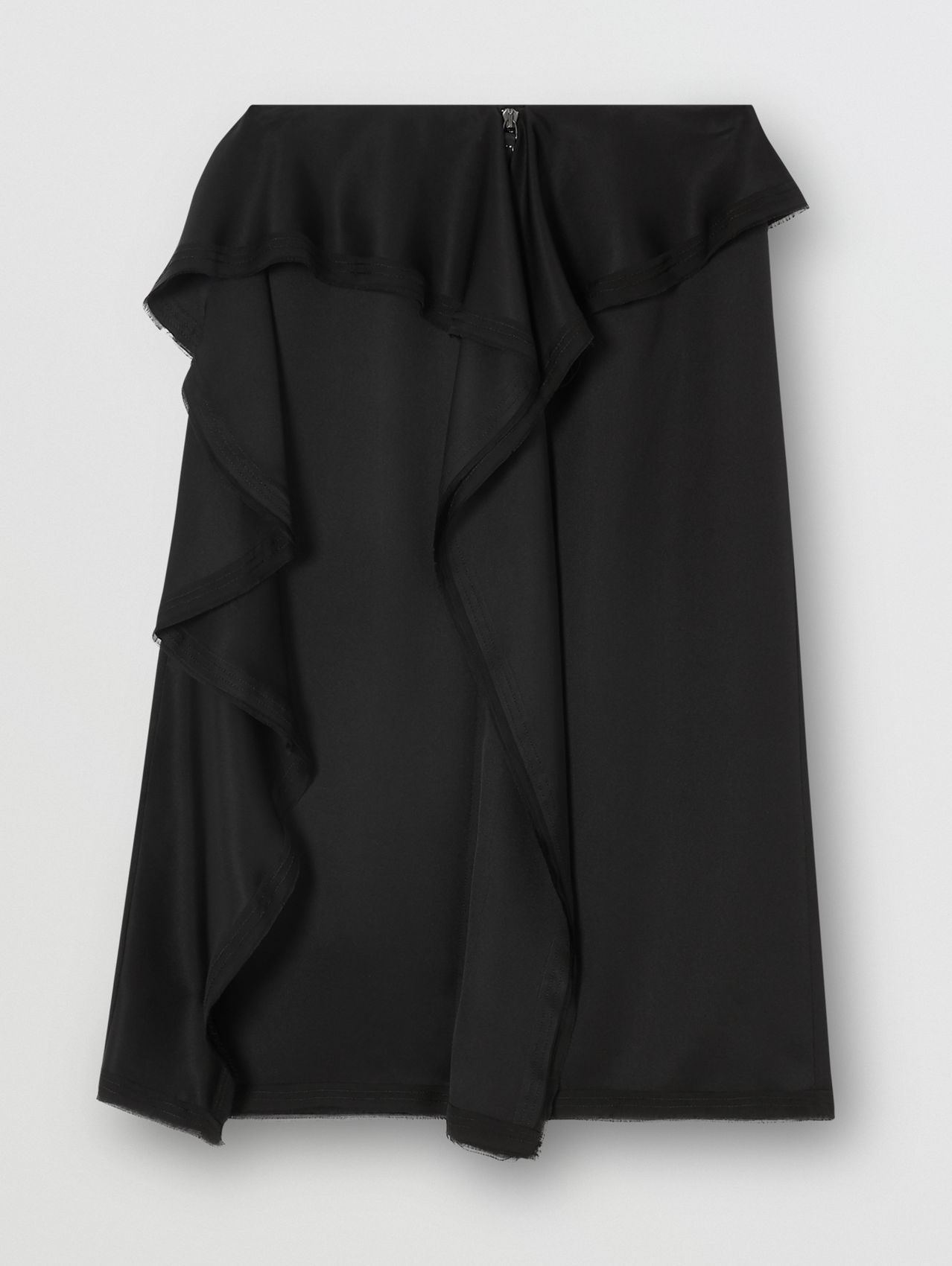 Ruffle Detail Silk Satin Pencil Skirt in Black