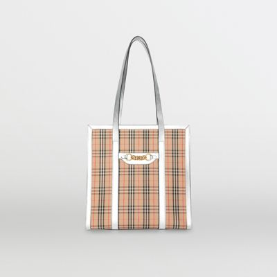 The Small Link Tote Bag Im Karodesign in Silver