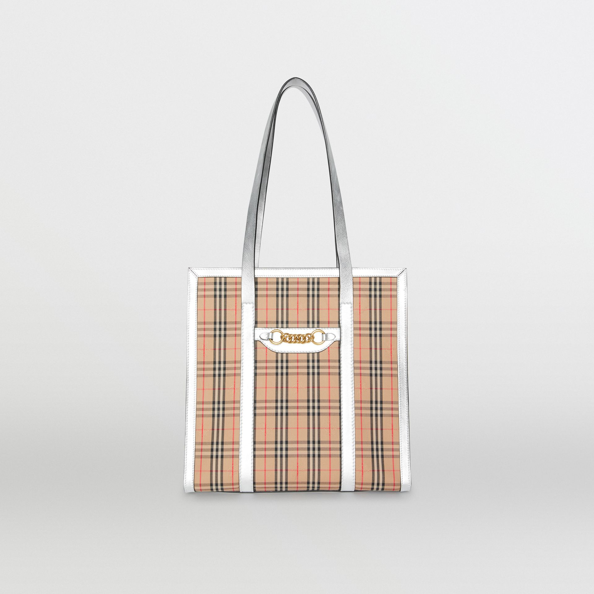 The Small 1983 Check Link Tote Bag in Silver - Women | Burberry United Kingdom - gallery image 0