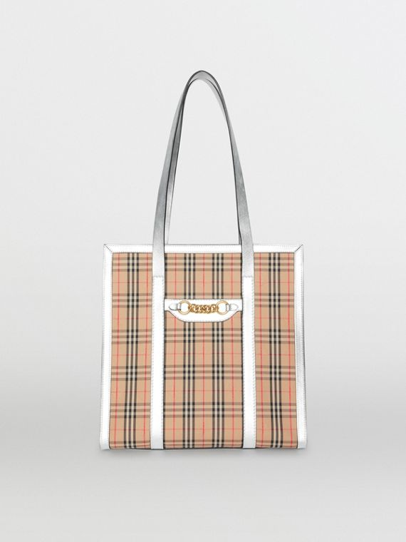 The Small 1983 Check Link Tote Bag in Silver