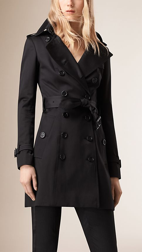 Black Cotton Sateen Trench Coat - Image 1