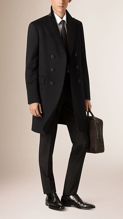 Black Wool Cashmere Peak Lapel Topcoat - Image 2