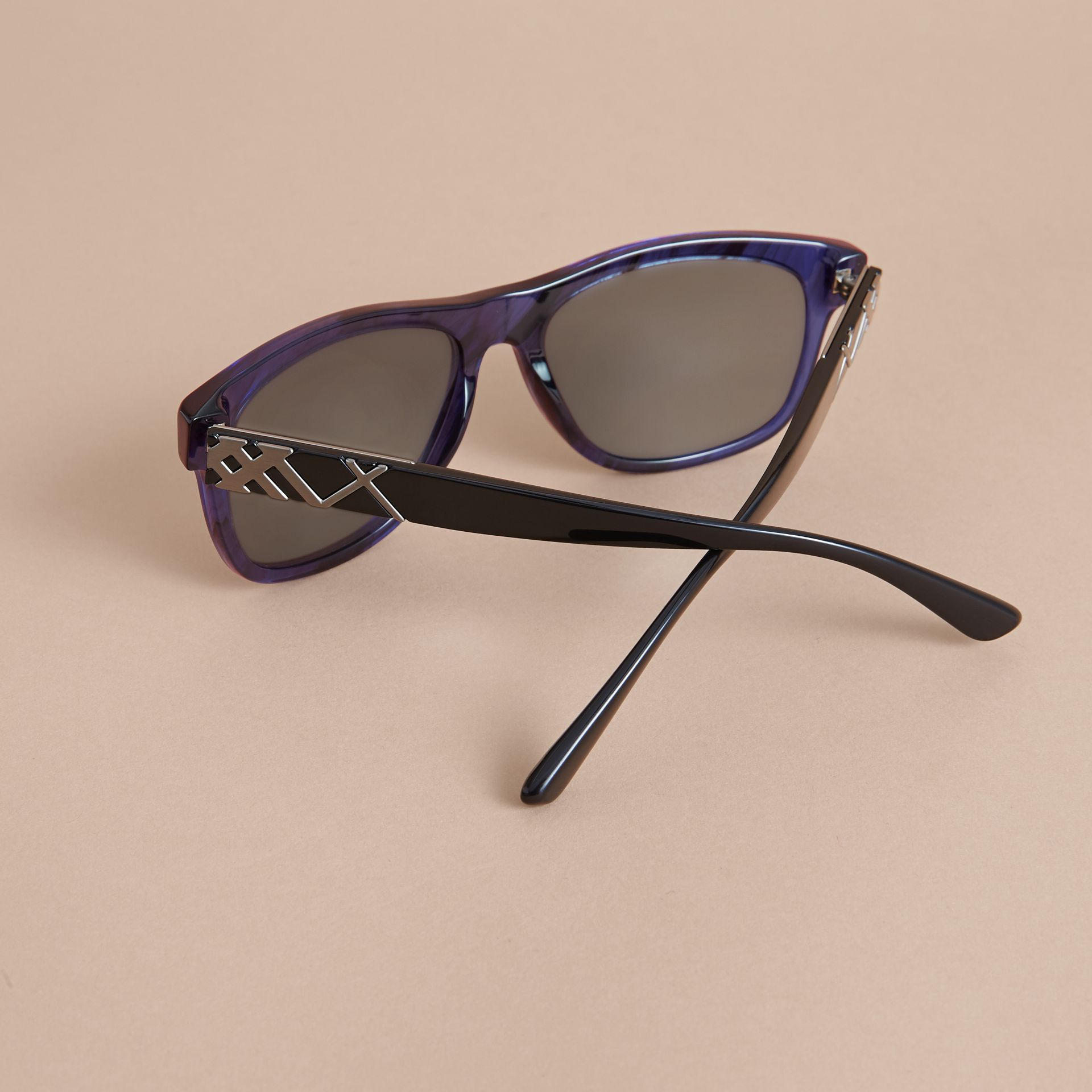 Check Detail Square Frame Sunglasses in Blue - Men | Burberry - gallery image 4