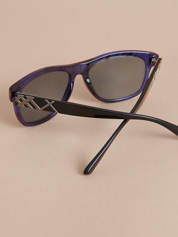 Check Detail Square Frame Sunglasses in Blue - Men | Burberry - cell image 3
