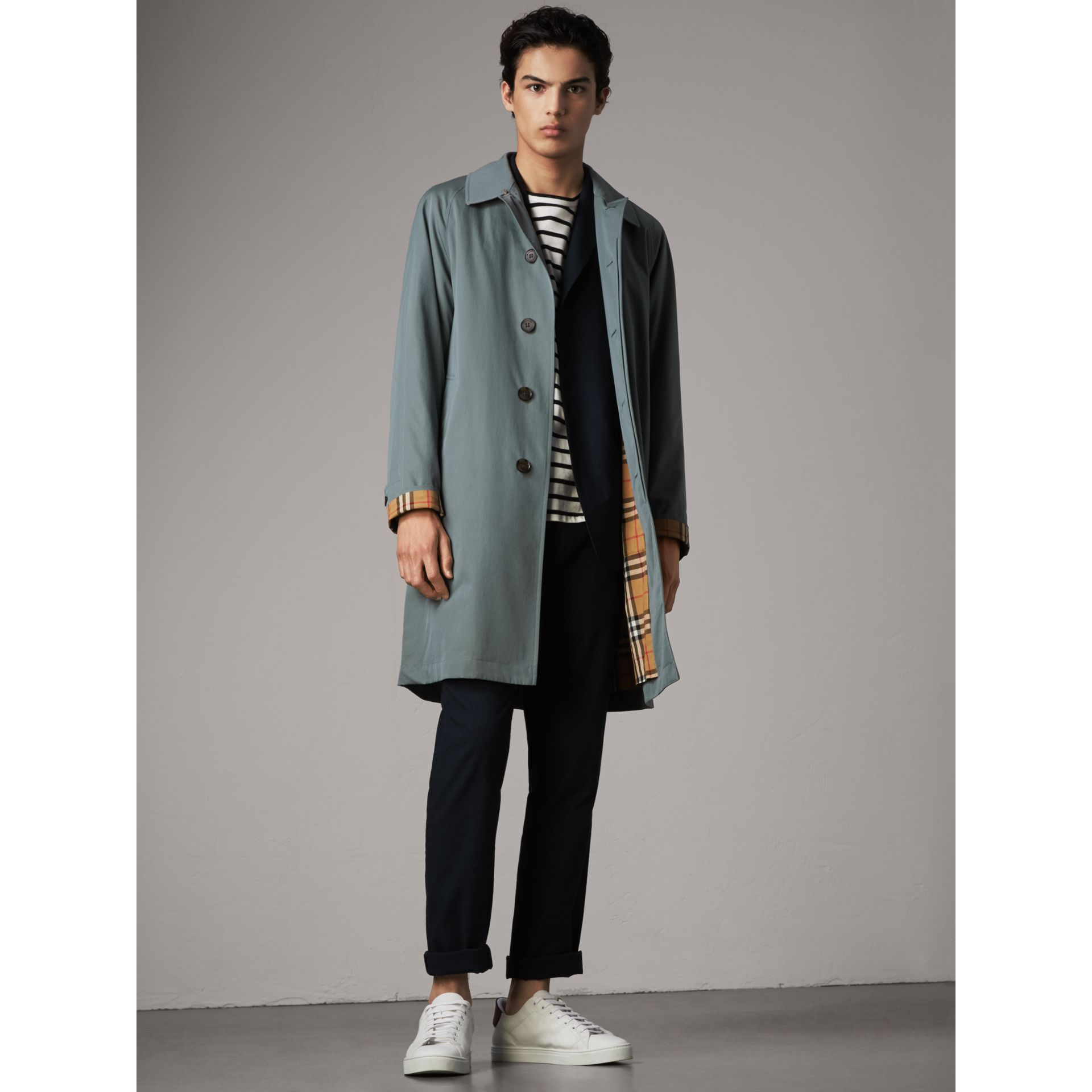 The Camden – Long Car Coat in Dusty Blue - Men | Burberry - gallery image 1