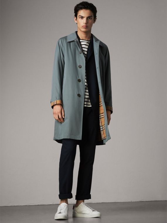 The Camden – Long Car Coat in Dusty Blue - Men | Burberry