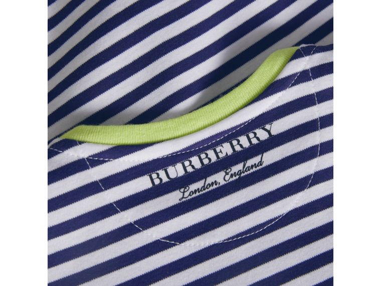 Striped Cotton Bodysuit in Bright Navy | Burberry - cell image 1