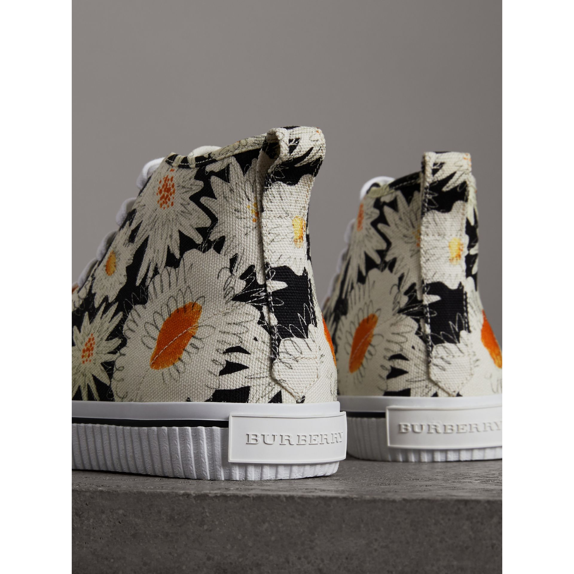 Daisy Print Canvas High-top Sneakers in Black - Men | Burberry Australia - gallery image 2