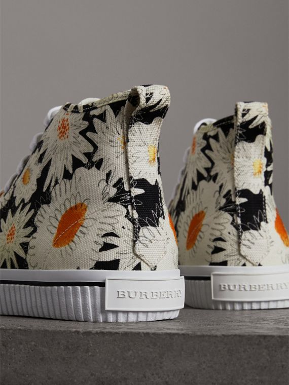 Daisy Print Canvas High-top Sneakers in Black - Men | Burberry - cell image 2