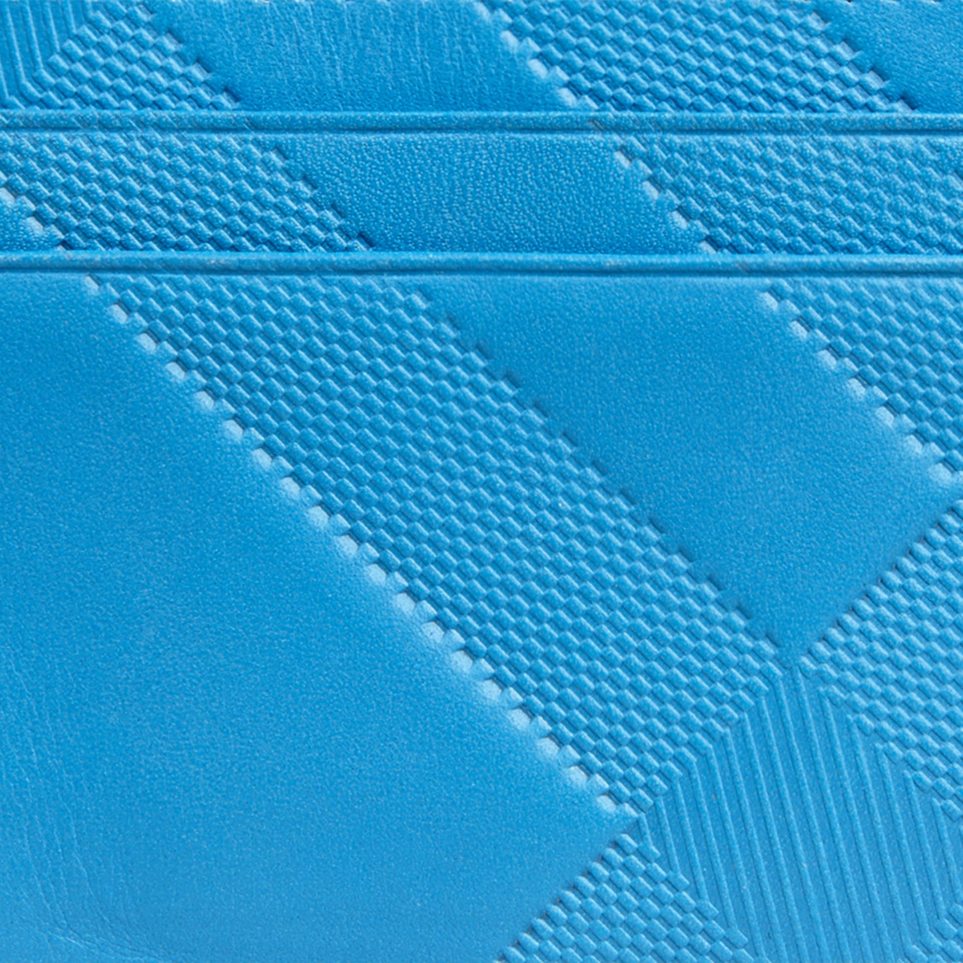 Blue azure Check Embossed Leather Card Case Blue Azure - gallery image 2