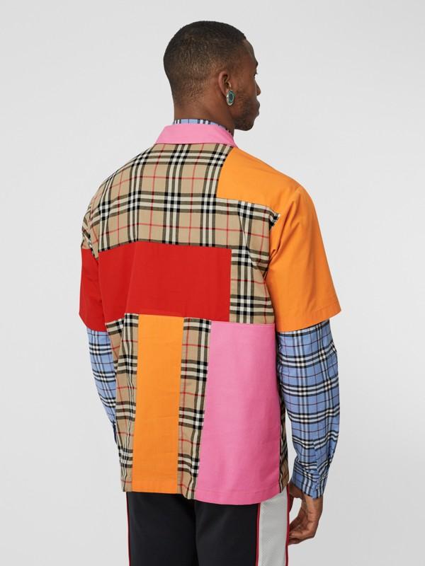 Short-sleeve Colour Block Vintage Check Cotton Shirt in Archive Beige - Men | Burberry United Kingdom - cell image 2