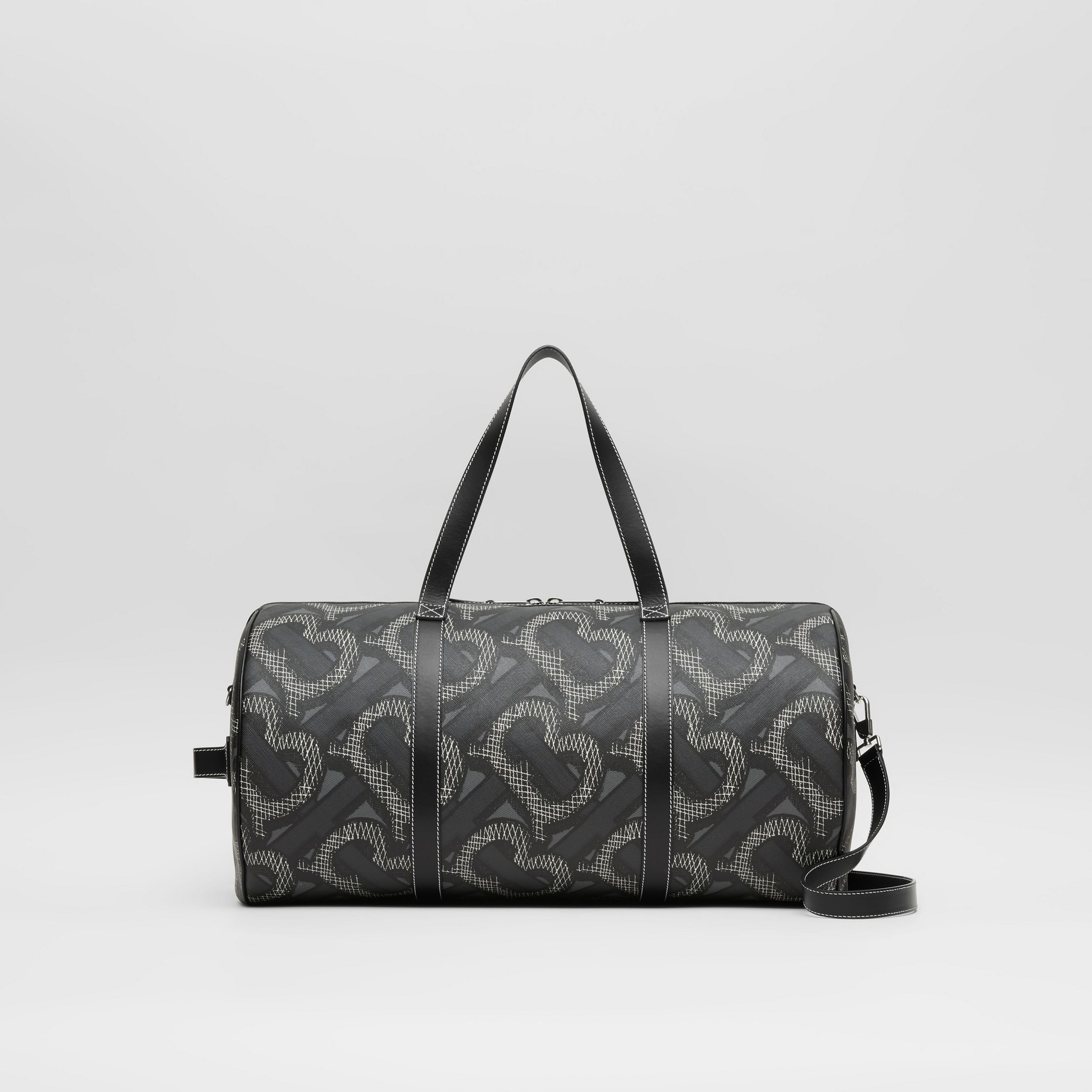 Large Monogram Print E-canvas Barrel Bag in Graphite | Burberry - 1
