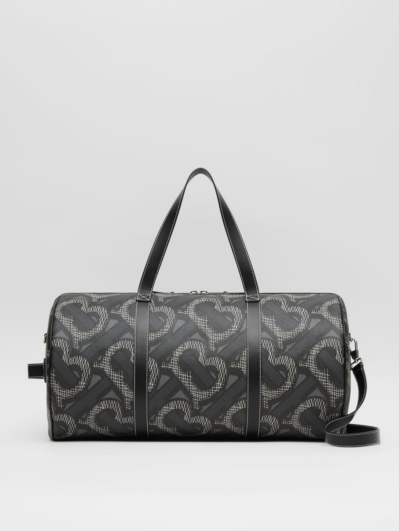 Large Monogram Print E-canvas Barrel Bag (Graphite)