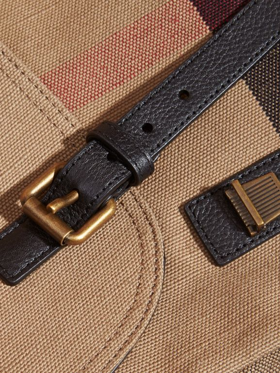 Small Canvas Check Messenger Bag in Black - Men | Burberry United Kingdom - cell image 1