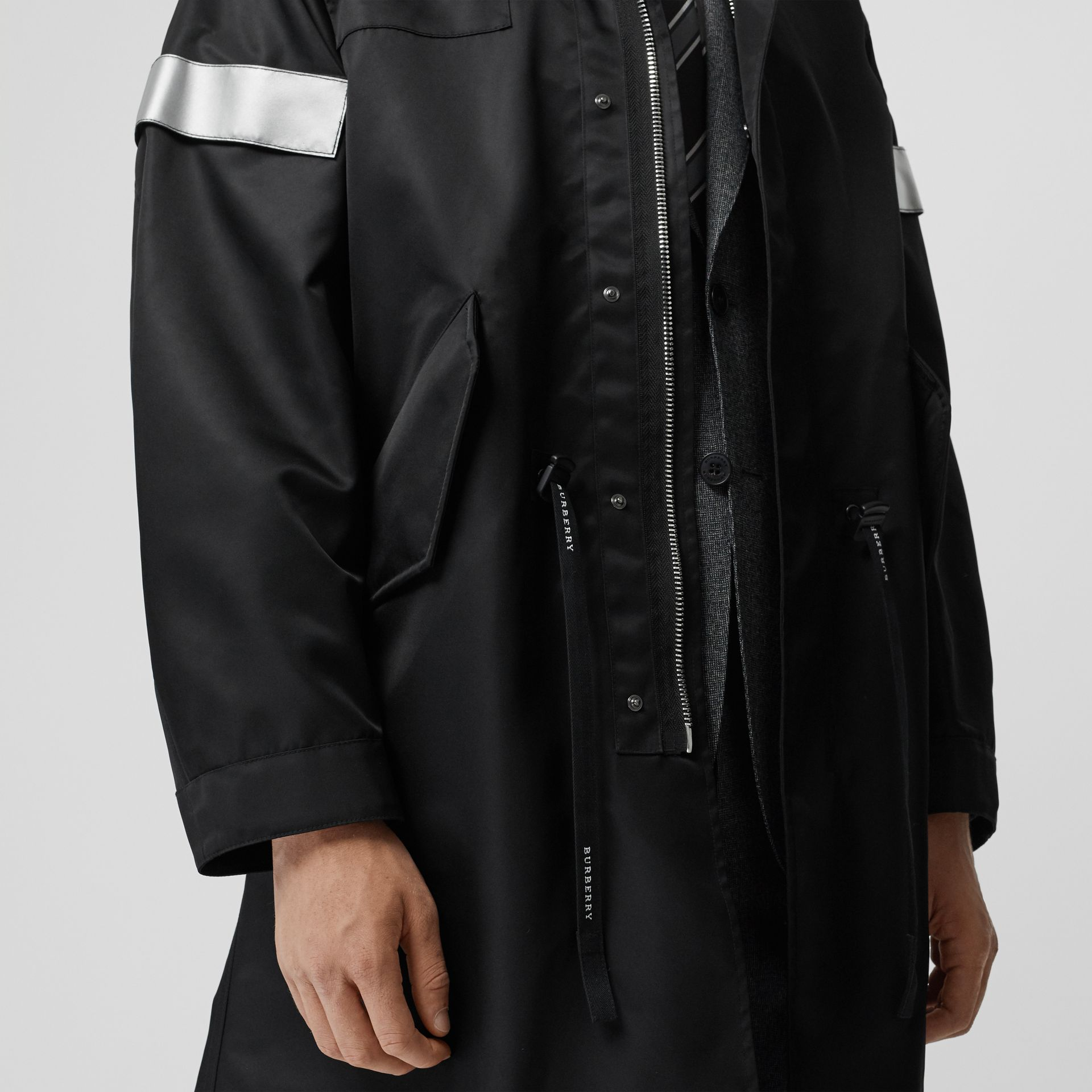 Detachable Hood Reflective Stripe Nylon Parka in Black - Men | Burberry - gallery image 4