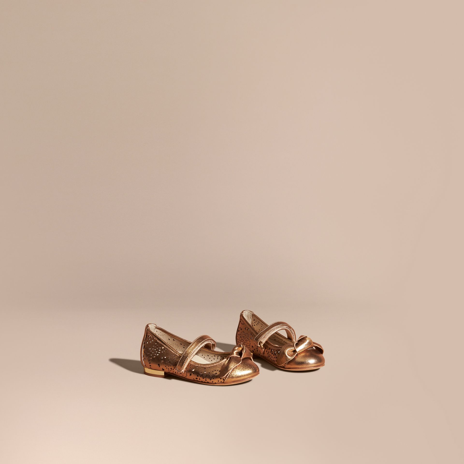 Heritage gold Laser-cut Metallic Leather Ballerinas - gallery image 1
